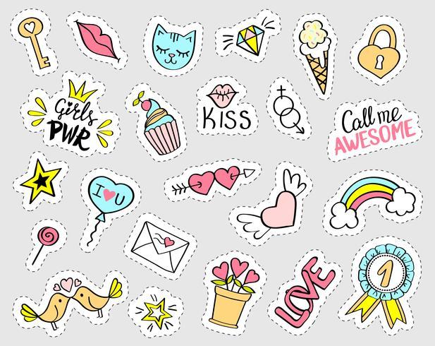 Mode girly stickers instellen. Verzameling van hand getrokken fancy doodle pinnen, badges. Vector trendy illustratie.
