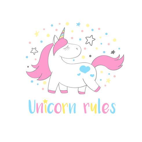 Magische schattige Eenhoorn in cartoon stijl met hand belettering Unicorn regels. Doodle eenhoorn vectorillustratie voor kaarten, posters, kinderen t-shirt afdrukken, textielontwerp. vector