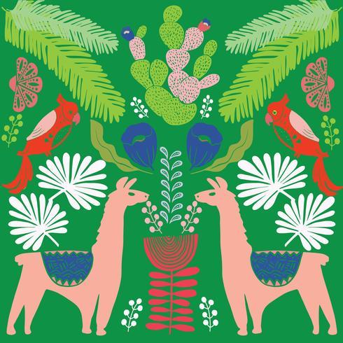 Illustratie met lama en cactus planten. Vector naadloos patroon op botanische achtergrond. Wenskaart met alpaca. Naadloos patroon
