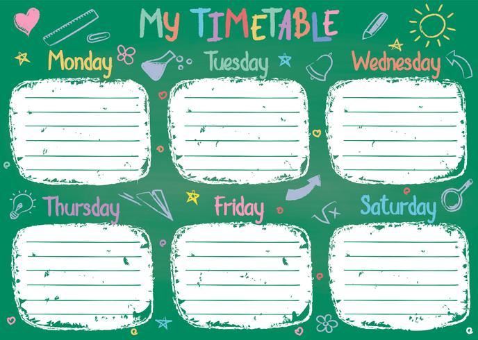 Het malplaatje van het schooltijdschema op schoolbord met hand geschreven gekleurde krijttekst. Wekelijks lessenpakket in schetsmatige stijl versierd met handgetekende schoolkrabbels op groen bord. vector