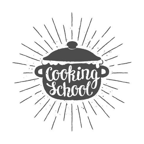 Pot silhoutte met letters - kookschool - en vintage zonnestralen. Goed voor het koken van logotypes, bades of posters. vector