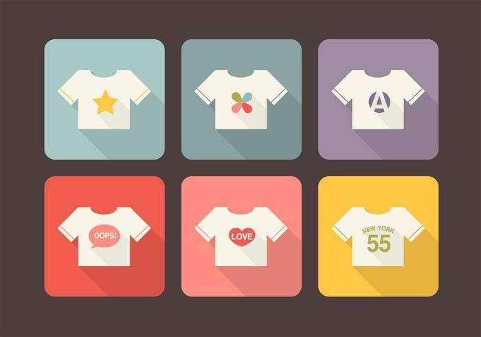 T-shirt ontwerp lange schaduw iconen Vector Pack