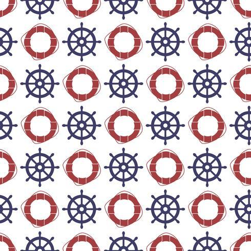 Nautische naadloze patroon met wiel en ring reddingsboei. vector