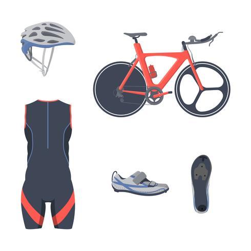 Triatlon ingesteld. Vector fietsapparatuur en kleding.