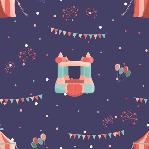 Pretpark naadloos patroon met opblaasbaar kasteel en circus. vector