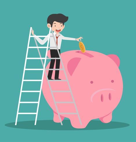 zakenman beklimmen een ladde brengen munt een Piggy bank-concept vector