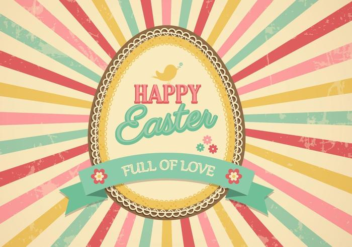 Retro Sunburst Easter Egg Vector achtergrond