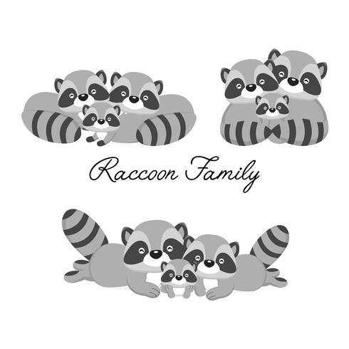 Gelukkige dierenfamilie. Papa, moeder, baby wasberen cartoon. vector