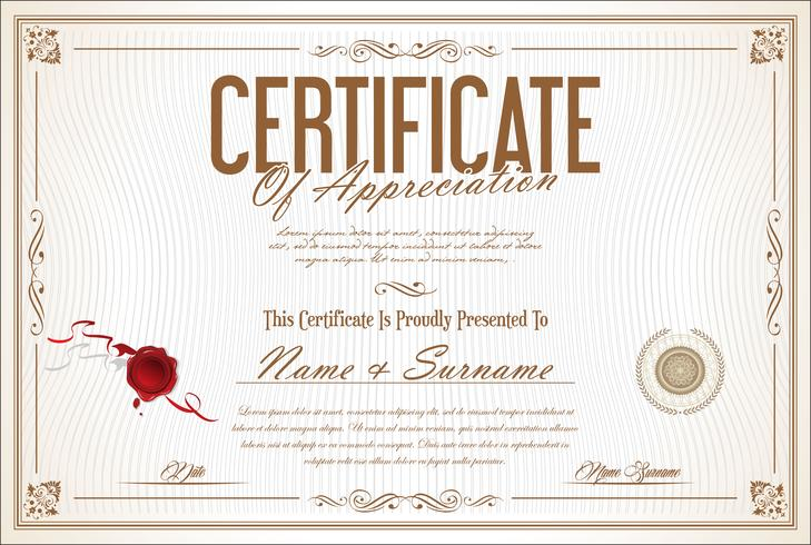 Certificaat of diploma retro ontwerpsjabloon vectorillustratie vector