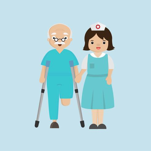Verpleegster die hogere patiënt met een stok helpt. vector