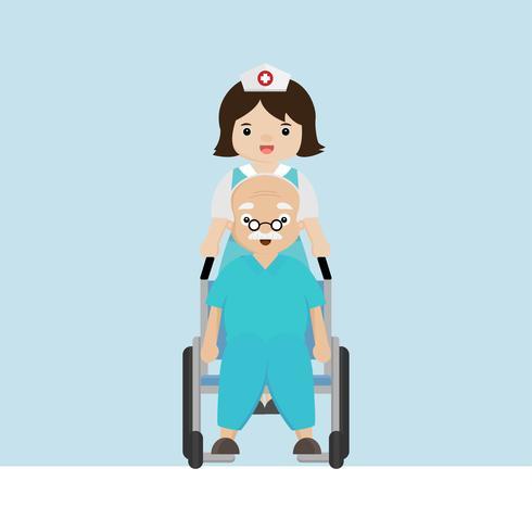 Verpleegster die met oudere patiënt in rolstoel wandelen. vector
