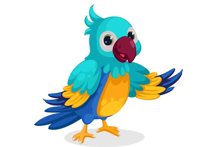 schattige blauwe ara cartoon staande in pose vector