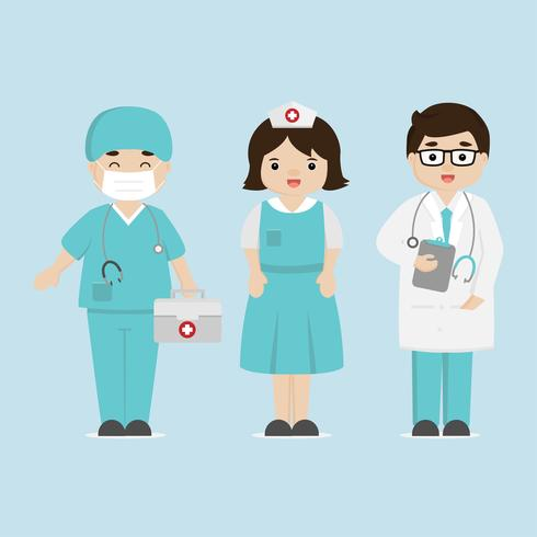 Medisch personeel team concept in het ziekenhuis. Arts en verpleegster stripfiguren. vector