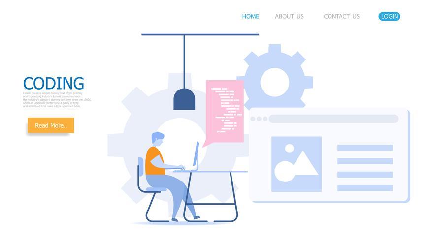 man werkt met codering vector