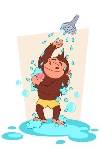 chimpansee nemen van een bad cartoon vector