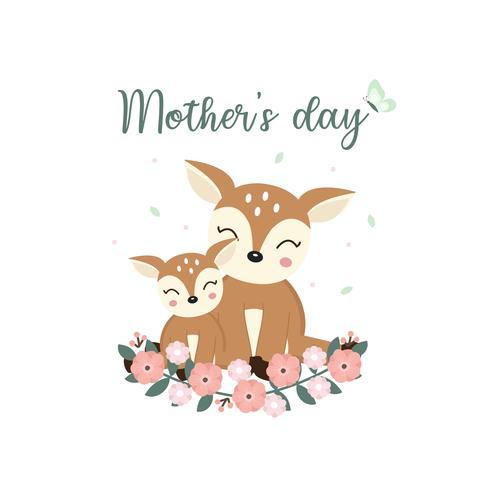 Leuke dieren voor moederdagkaart. Herten moeder en haar baby cartoon. vector