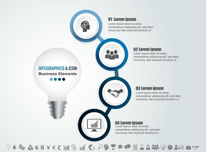 Infographic zakelijke tijdlijn proces en pictogrammen sjabloon. Ontwerp met gloeilamp, idae marketing kan worden gebruikt voor workflow lay-out, rapport,. Bedrijfsconcept met 4 opties, stappen of processen. Vector. vector