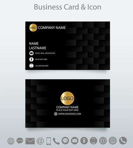 Moderne creatieve visitekaartjesjabloon en pictogram. Ge relateerde geometrische zwarte achtergrond. vector