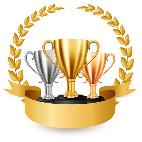 Realistische gouden, zilveren en bronzen trofeeën met gouden lauwerkrans en lint, vectorillustratie vector