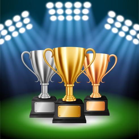 Aangepaste kampioenschappen met 3 trofeeën met verlichte schijnwerpers, vectorillustratie vector