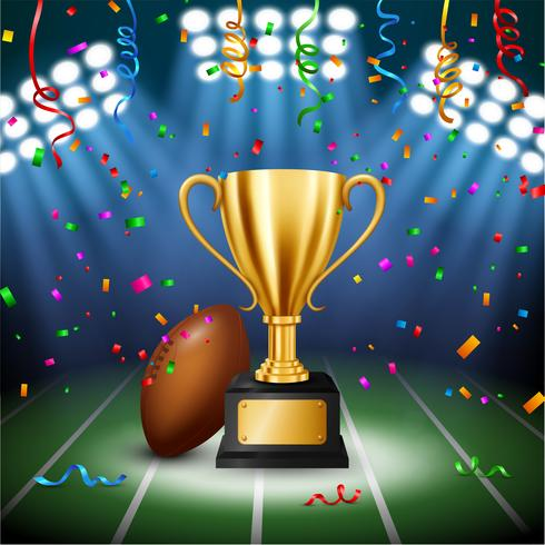 Amerikaans voetbalkampioenschap met Gouden Trofee met dalende confettien en verlichte schijnwerper, Vectorillustratie vector
