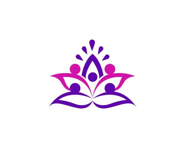 Lotus-bloemembleem en symbolen vectormalplaatje vector