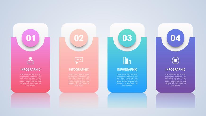 Tijdlijn Infographic sjabloon voor het bedrijfsleven met vier stappen Multicolor Label vector