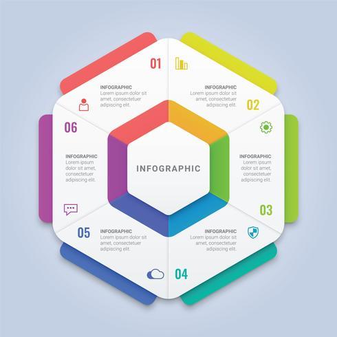 Zeshoek infographic sjabloon met zes opties voor workflowindeling, diagram, jaarverslag, webdesign vector