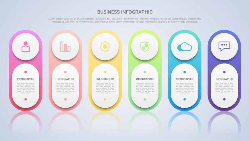 Eenvoudige Infographic-sjabloon voor zaken met Six Steps Multicolor Label vector