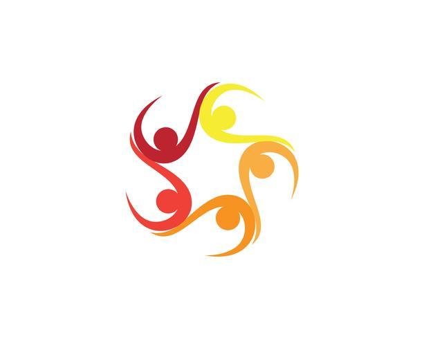 Groepsgemeenschap team mensen logo en symbolen ster vector