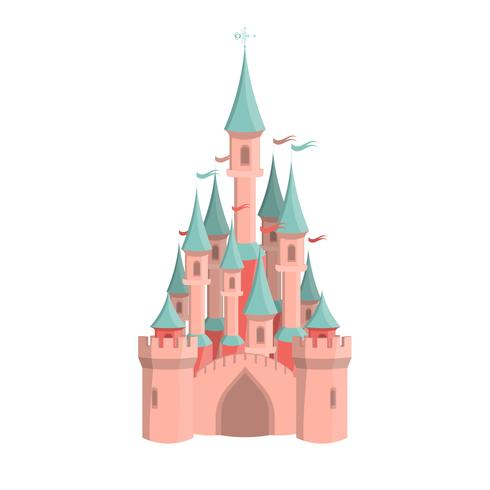 Cartoon roze kasteel. Geïsoleerde pretpark pictogram. vector