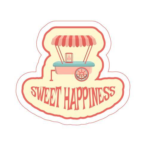 Sticker met cartoon voedsel aanhangwagen en tekst. vector