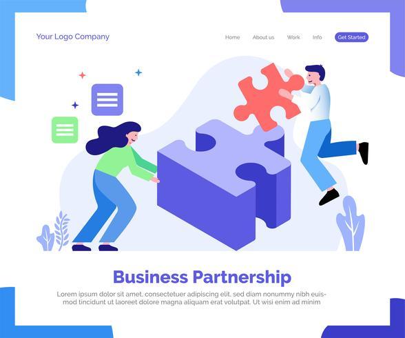 Zakelijke partnerschap bestemmingspagina vector achtergrond.