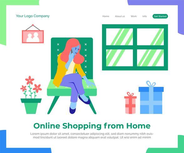 Online winkelend van huis vectorillustratie als achtergrond. vector