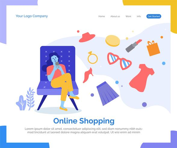 Online winkelende bestemmingspagina vectorachtergrond. vector