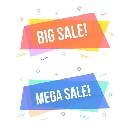 Reeks geometrische verkoopbanners, Trendy vlakke het etiketontwerp van de Memphisstijl vector