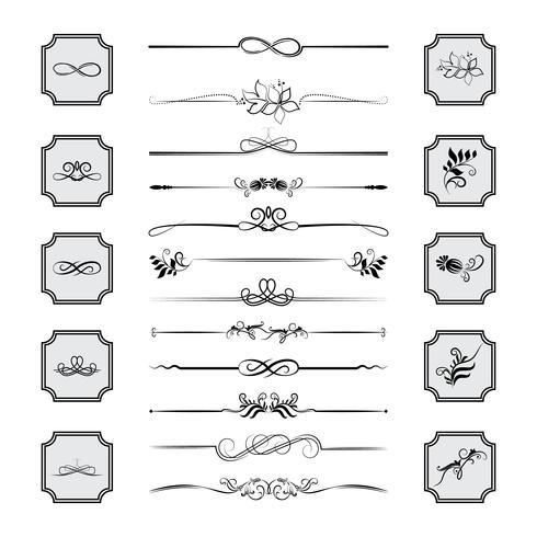 Kalligrafische ontwerpelementen. Verdelers, frames met verschillende vormen. Vector