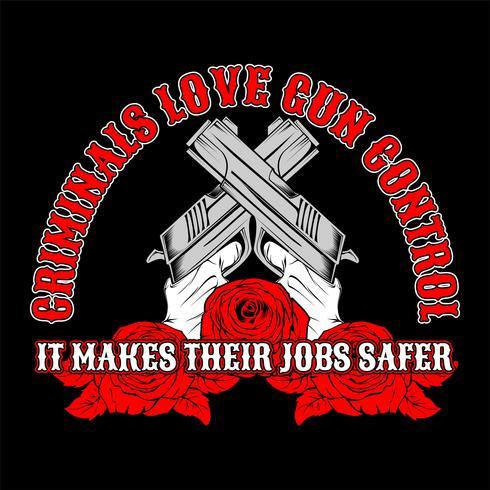 kruisgeweer, criminelen houden van wapenbeheersing. .vectorhandtekening, overhemdsontwerpen, fietser, schijfjockey, heer, kapper en vele anderen. geïsoleerd en gemakkelijk uit te geven. Vectorillustratie - Vector