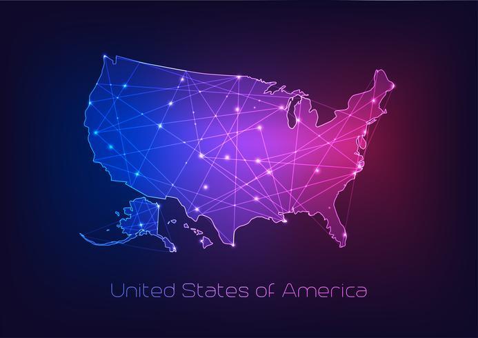 Kaart van de Verenigde Staten van Amerika kaart met sterren en lijnen abstract kader. vector