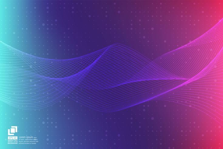 Purper de golf abstract van de deeltjeslijn modern ontwerp met exemplaar ruimte, Vectorillustratie voor uw zaken en Webbannerontwerp. vector