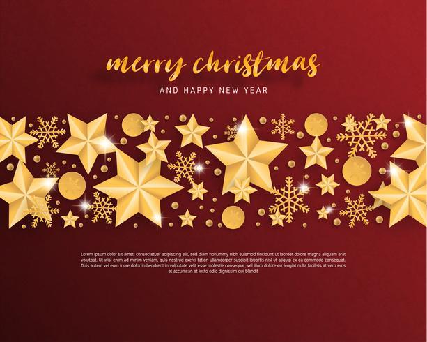 Vrolijke Kerstmis en gelukkig Nieuwjaar wenskaart in papier knippen stijl achtergrond. Vector illustratie Kerstviering ster, sneeuwvlok, decoratie op rood. banner, flyer, poster, achtergrond, sjabloon.