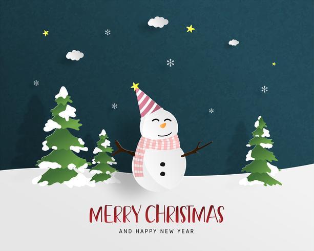 Vrolijke Kerstmis en gelukkig Nieuwjaar wenskaart in papier stijl knippen. Vector illustratie Kerstviering achtergrond met Happy sneeuwpop. Banner, flyer, poster, achtergrond, sjabloon.