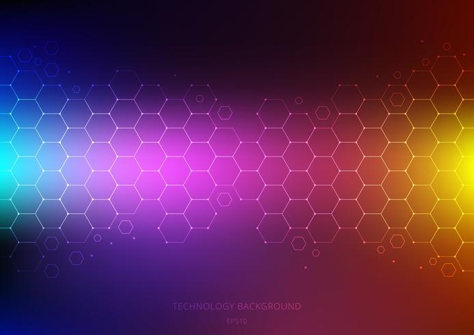 Abstract wetenschap en technologieconcept van zeshoekenpatroon met knoop op trillende kleurenachtergrond. Structuurmolecule en communicatie. Wetenschap en medisch. vector