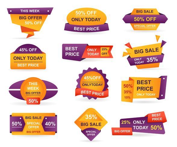 Set labels voor de verkoop in de detailhandel. Stickers beste aanbieding prijs en grote verkoop prijskaartje badge ontwerp. Beperkte verkoopaanbieding label of winkel kortingsbanner kaart geïsoleerd. Shopping-kortingsbon. Vector illustratie.