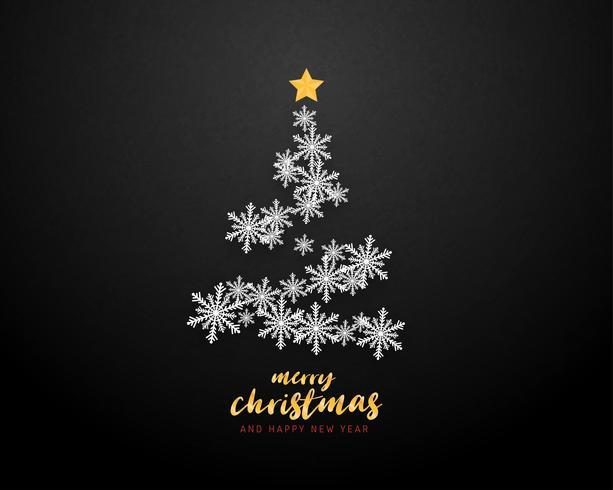 Vrolijke Kerstmis en gelukkig Nieuwjaar wenskaart in papier knippen stijl achtergrond. Vector illustratie Kerstviering sneeuwvlokken boom op de achtergrond voor banner, flyer, poster, behang, sjabloon.