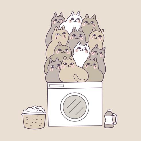 Cartoon schattige katten op wasmachine vector. vector