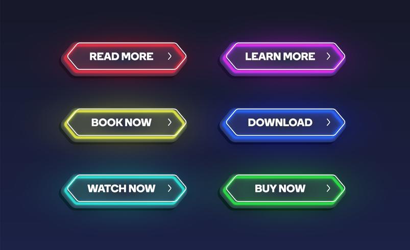 Kleurrijke glanzende neon knop set, vectorillustratie vector