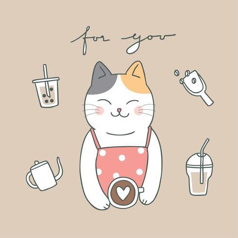 Cartoon schattig kat en koffie vector. vector
