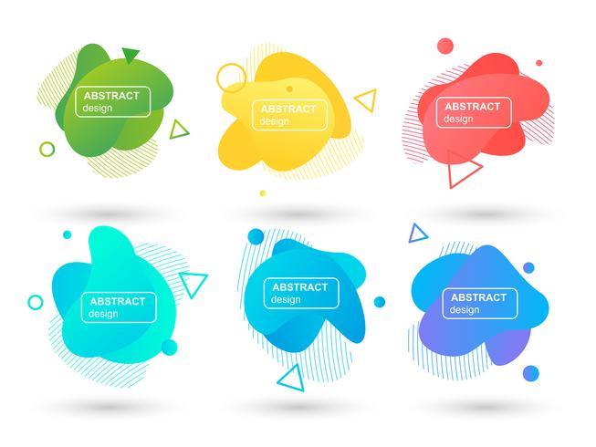 Set van abstracte vloeibare vormen moderne grafische elementen. Vloeibare ontwerpvormen en lijn. Gradiënt abstracte banners. Sjabloon voor het ontwerpen van een logo, flyer of presentatie. Vector illustratie.
