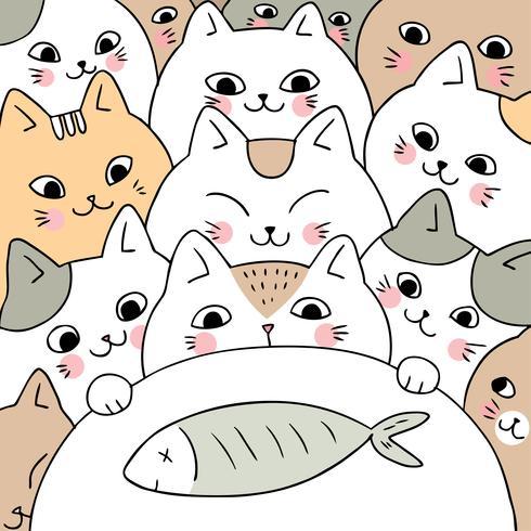 Katten van de beeldverhaal de leuke krabbel en vissenvector. vector